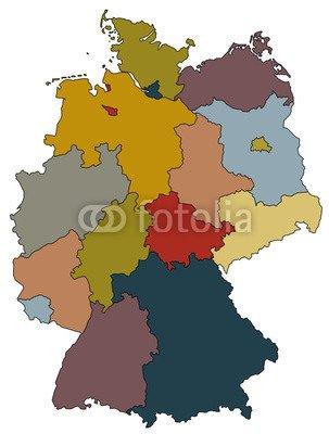 """Leinwand-Bild 50 x 70 cm: \""""Deutschlandkarte - Bundesländer farbig\"""", Bild auf Leinwand"""