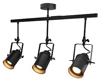 Industrial Retro GU10 Ceiling Spotlight Bar 3 Lamp Black Metal Adjustable Track Light Fitting M0054