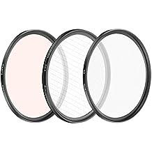 Neewer 3 Pièces 58MM Kit de Filtre d'Effet Spécial, Filtre à Lumière Douce/ Filtres 4 Point d'Etoile Tournant/ Filtres Warming pour CANON Rebel T5i T4i T3i T2i EOS 700D 650D 550D DSLR Appareils Photos, Lentilles EF-S 55-250mm f/4-5,6 IS II