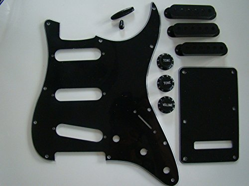 full-stratocaster-guitar-pickguard-accessory-cover-knobs-kit-black-fits-fender