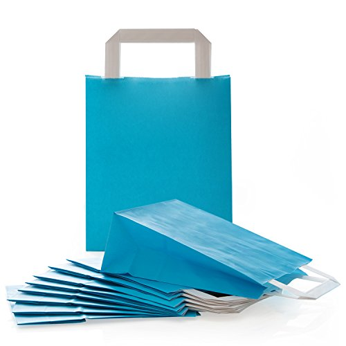 25 kleine blaue Papiertaschen 18 x 8 x 22 cm Geschenktüten mit Boden Henkel Papiertüten Papierbeutel Verpackung für Mitgebsel Gastgeschenke Produkte give-away Kundentüten Tüten aus Papier