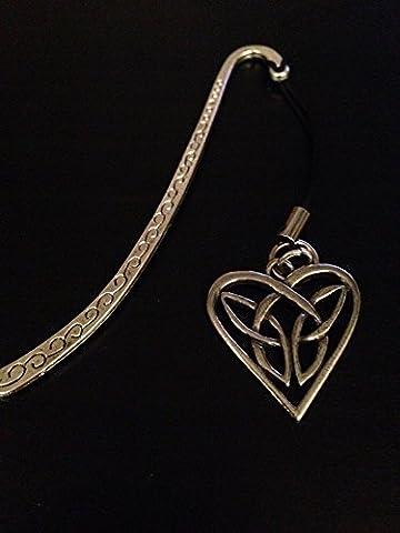 Lesezeichen, keltisches verflochtenes Herz, mit englischem Zinn-Charm