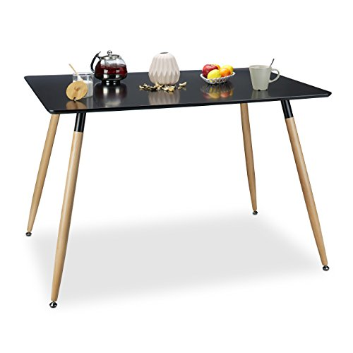 Relaxdays Table à manger ARVID rectangle table de salon table appoint en bois HxlxP: 75 x 120 x 80 cm design scandinave nordiqu
