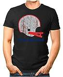 OM3® - New-England-Helm - T-Shirt | Herren | American Football Shirt | 4XL, Schwarz