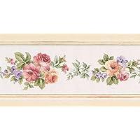 """Rojo melocotón rosa lila flores cenefa de papel pintado, diseño retro de diseño de flores de color blanco, rollo 15'x 5,25"""""""