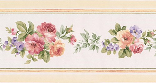 Rot Peach Pink Lila Blumen weiß floral Tapete Bordüre Retro Design, Rolle 15'x 13,3cm Peach Küche