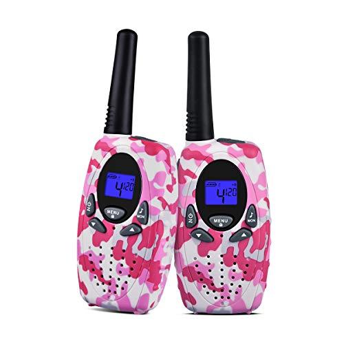 Upgrow 2X Walkie Talkies Kinder Funkgeräte Set 8 Kanäle 2-Wege Radio Walki Talki Funkhandy Interphone mit LCD Display, Kinder Speilzeug und Geschenk (Rosa+Weiß) Lcd-marine 2-wege-radio