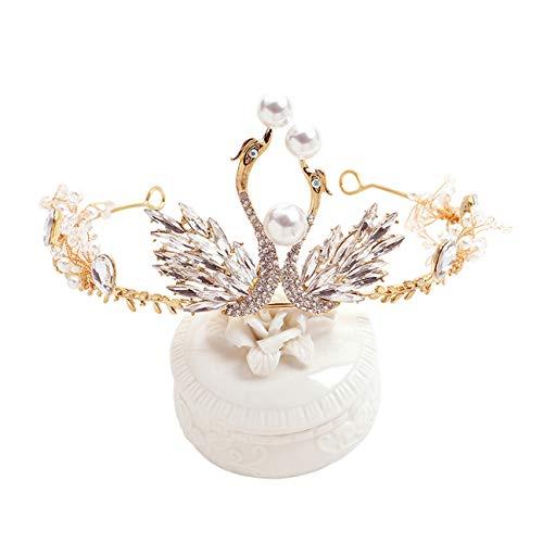 DONGYUER Kind Kopfbedeckung Princess Crown Girl Gold Accessoires Hochzeit Haarschmuck Catwalk Show Geburtstagsbankett Krone,A