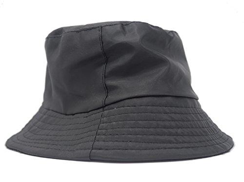 Sombrero Impermeable Mate para la Lluvia, Gorro con Interior de Forro Polar (Negro)