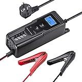 LOHOTEK 6V/12V Cargador/Mantenedor de Batería con Cargador de Cepo de Cable para Batería de Ácido de Plomo Sellado Cortadoras de Césped de Barco de Coche