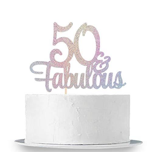 Innoru Laser Mehrfarbiger Glitzer 50 & fabelhafte Kuchendekoration - 50. Geburtstag Party Dekoration Schild