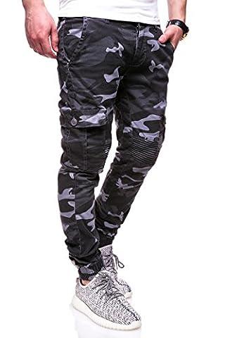 MT Styles Cargo Jogging-Jeans Camouflage homme RJ-3225 [noir,