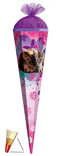 Unbekannt Schultüte - Hund und Katze 35 cm - mit Tüllabschluß - Zuckertüte Roth Hunde Katzen Tierkinder Tier Tiere kleine Freunde rosa -