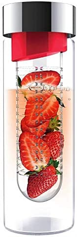 Asobu Flavour It Red Silver Glass Water Bottle with Built-in Fruit Infuser 0.5l