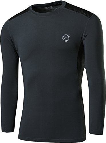 jeansian Uomo Moda Formazione Manica Lunga Sportivo Casuale Palestra Fashion Tee T-Shirts Camicie LA191 Gray