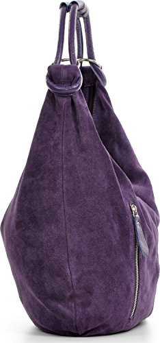 Damen Schultertasche Leder, Hobo-Bag, Leder Handtasche Damen, CNTMP, Beuteltasche Wildleder, Leder-Tasche DIN-A4, 44x36x4cm (B x H x T) Lila