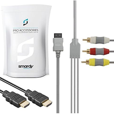 Câble S-Video pour Console de jeu Nintendo Wii S Câble + Câble HDMI haut débit Compatible Ethernet 3D Full HD canal retour audio 1,5 m