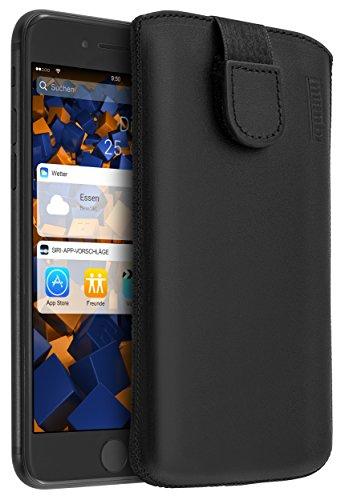 mumbi ECHT Ledertasche für iPhone 8 Plus / 7 Plus Tasche Leder Etui (Lasche mit Rückzugfunktion Ausziehhilfe)