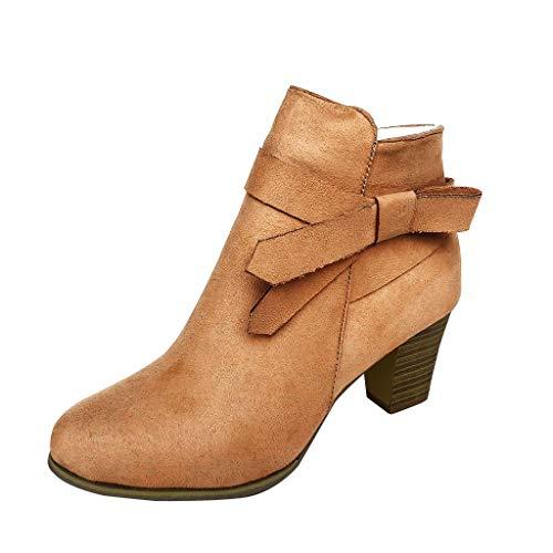 Botas Al Tobillo Botas de Mujer EN Marrón Caqui //Botas con Tacón de Imitación de Cuero con Tacón...