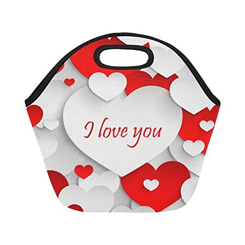 Isolierte Neopren-Lunch-Tasche Love You Abstract Holiday Paper Große wiederverwendbare thermische dicke Lunch-Tragetaschen für Lunch-Boxen für draußen, Arbeit, Büro, Schule