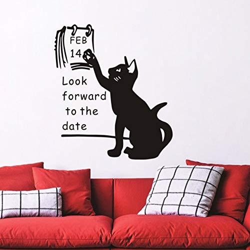 LKOBN Wohnzimmer Wandaufkleber Cartoon Katze Wir Freuen Uns Datum Tapete Aufkleber Valentine Home Decor Valentinstag Dekor Poster 58Cm * 66Cm
