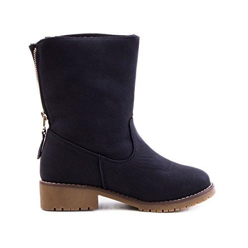 Damen Stiefel Biker Ankle Boots mit Nieten Strass in hochwertiger Lederoptik gefüttert Schwarz Sydney