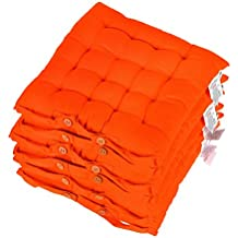 Homescapes Lot De 6 Galettes Chaises Matelasses 40 X Cm Orange