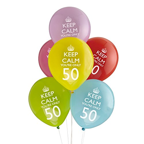 Keep Calm You're Only 50 Party Balloons x 8