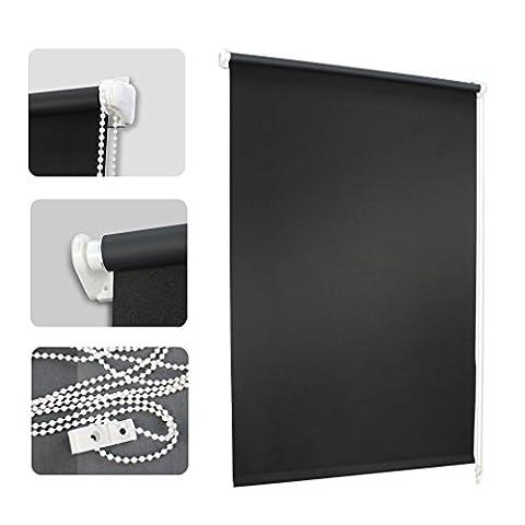 Auralum® 70 x 120 cm Store occultant avec mécanisme à chaîne en 100% Polyester pour fenêtres et portes-Store occultant montage au plafond ou au mur: Noir