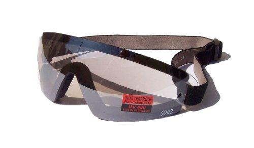 Lanes Eyewear USA sorz Motorrad/Fallschirmspringen beschlagfrei bruchsicher Schutzbrille|Clear Spiegel Linse