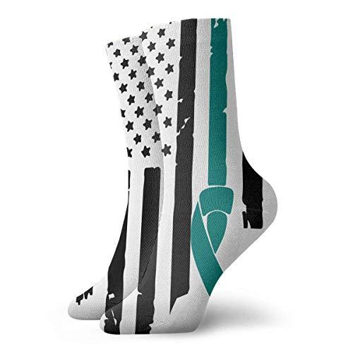"""Cervical Cancer Awareness USA Flag Sport Compression Short Stockings Best for Men & Women Baseball Jogging 12"""""""