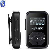 Bluetooth MP3 Player 8GB Mini Sport Mp3 Player mit Clip, 30 Stunden Wiedergabe Musik Player mit FM, von AGPTEK A26, Schwarz