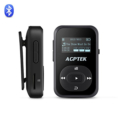 AGPTEK A26B Reproductor Mp3 Bluetooth 8GB con Mini Clip, FM Radio y Grabadora de Voz ( Una Funda Silicona Incluido), Color Negro