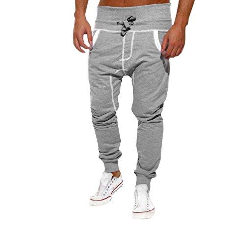 Herren Hose Weiß,Dragon Mens Casual Jogger Tanz Sportwear Baggy Harem Hosen Slacks Hosen Jogginghose (Grau, XL)