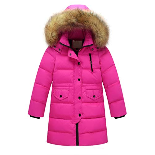 Anglewolf Girl's Puffer Down Coat Winter Jacket with Faux Fur Trim Hood Kids Girls Outerwear Jacket Warm Cotton Overcoat Furry Hooded(Hot Pink,7-9 Years)