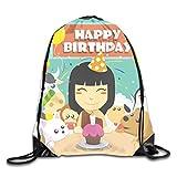 YuYfashions Drawstring Bag Happy Birthday Rucksack for Gym Hiking Travel Unique Rucksack mit Kordelzug