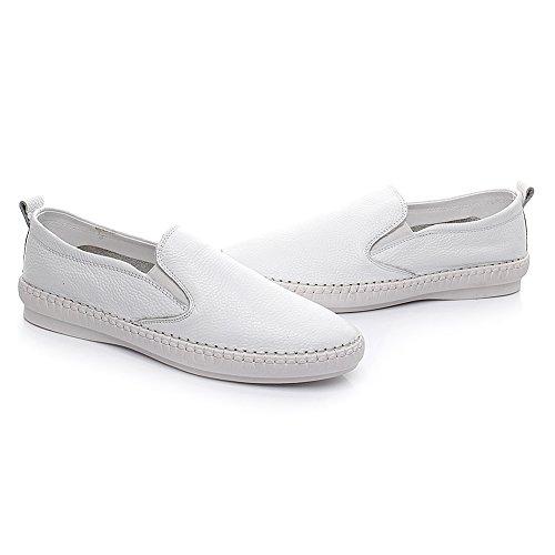 Jamron Filles Femmes Cuir Véritable Flâneurs Chaussures D'Infirmière de Travail d'Hôpital blanc1