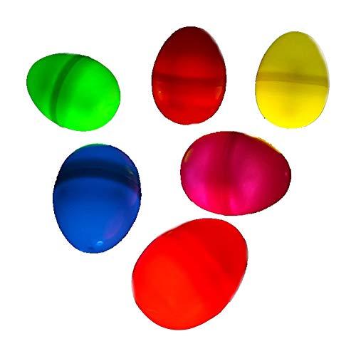 lujiaoshout Ostereier Floureszierende Glow Osterei Spielzeug Perfekt für Osterdeko-Party-Bevorzugungs-Geburtstags-Party-Dekorationen 6Pcs (Orange, Gelb, Grün, Blau, Rosa, Rot)