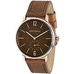 Tokyobay T337-RG Herren-Edelstahl braunes Lederband braunes Zifferblatt Watch