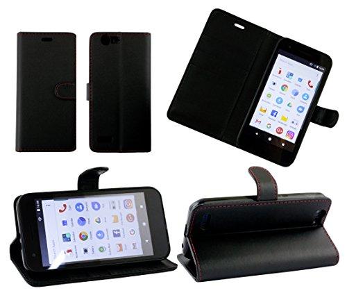 emartbuy Vodafone Smart E8 Wallet Etui Hülle Case Cover aus PU Leder mit Kreditkartenfächern - Schwarz (Rot Stitching)