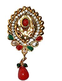 SV Sons Saree Pin Brooch For Women & Girls, Gold Tone, Round Shaped