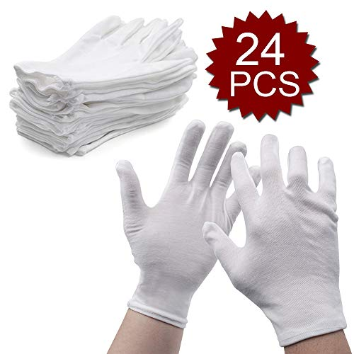 Aspire 12 Paar Wholesale weiche Baumwoll-Handschuheinlage für Kosmetika, feuchtigkeitsspendende Hand, Spa, Weiß, Größe XS