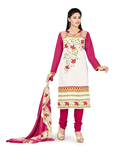 Low Price Cotton White and Pink Patiala Suit dress for women daily...