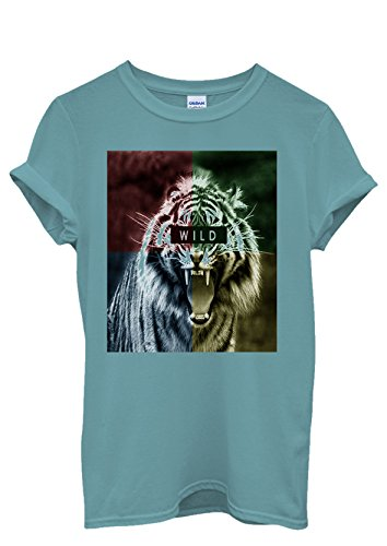 Wild Animal Tiger Tumblr Blogger Men Women Damen Herren Unisex Top T Shirt Licht Blau
