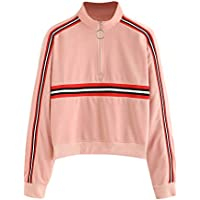Damen Pullover Sweatshirt,Juliyues Frauen Farbblock Zip Up Jumper Oberteil Sweatshirtjacke Pullover Tops Bluse Outwear