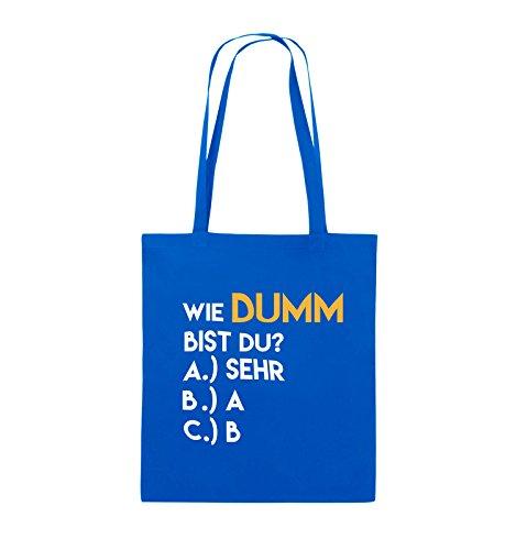 Comedy Bags - Wie dumm bist du? - Jutebeutel - lange Henkel - 38x42cm - Farbe: Schwarz / Weiss-Neongrün Royalblau / Weiss-Gelb