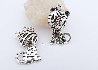 10 Breloques Tigre 32 x 22 mm ? pendentif thème animaux