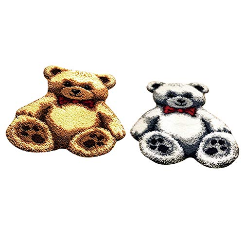 Baoblaze 2 Pcs Knüpfteppich Formteppich Bären Form für Kinder und Erwachsene zum Selber Knüpfen Teppich, Latch Hook Kit