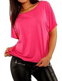 Young-Fashion - T-shirt de sport - Avec nœud - Uni - Manches Courtes - Femme