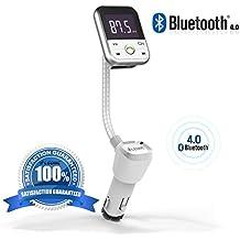 [Versione migliorata]LEONC 5 IN 1 Bluetooth Trasmettitore FM da auto con Chiamata Vivavoce & Controlli musicali - Funziona con Apple, Samsung, LG & altri Smartphone, Tablet, Lettori MP3(Argento)